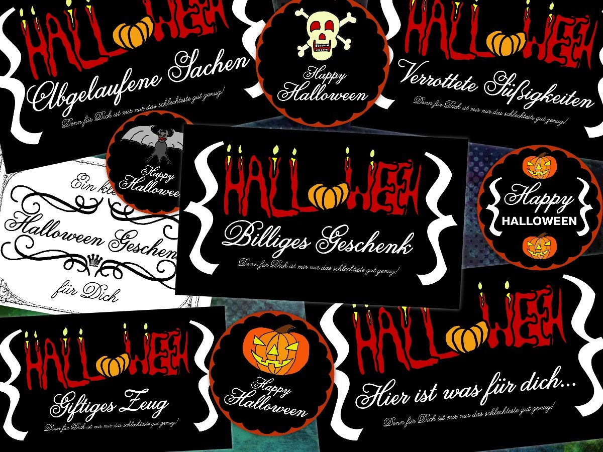 halloween geschenkaufkleber halloween party tipps und. Black Bedroom Furniture Sets. Home Design Ideas